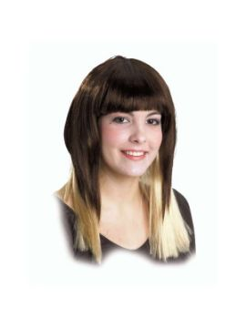 peluca morena con mechas californianas larga