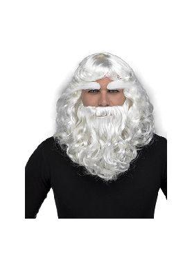 peluca papa noel con barba y cejas
