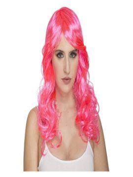 peluca rizada fucsia fosforito