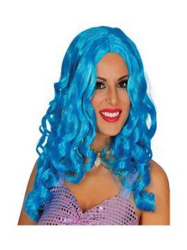peluca rizada larga azul