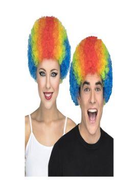 peluca rizada multicolor payaso