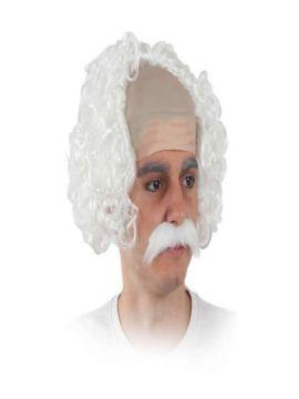 peluca y bigote blanco de cientifico