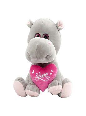 peluche de hipopotama sentada con corazon 27 cm