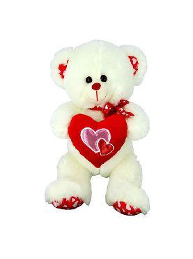 peluche de oso blanco con corazon 35 cm