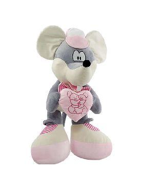 peluche de ratoncita con corazon rosa 75 cms