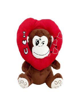 peluche mono marron con corazon en la cabeza 38 cms