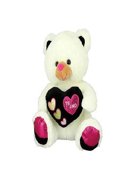 peluche oso beig corazon negro 28 cms