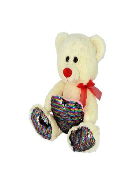 peluche oso con corazon lentejuelas 28 cms