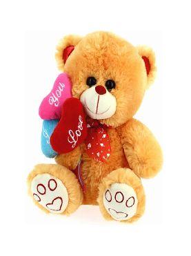 peluche oso marron tres corazones 28 cms