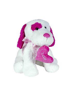 peluche perro blanco y fucsia corazon 45 cms