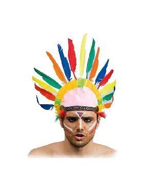 penacho indio con 10 plumas multicolor