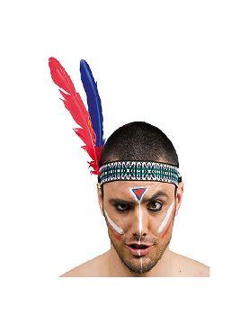 penacho o cinta de indio 2 plumas