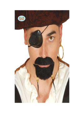 perilla y bigote pirata en negro