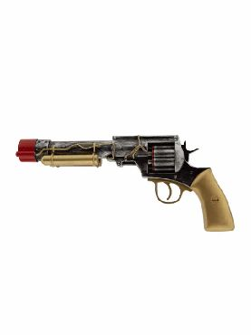 pistola revolver steampunk 32 cms