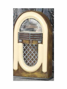 radio antigua con luz y sonido 21x33 cms