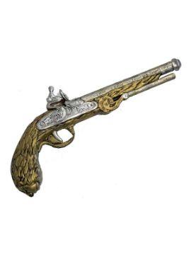 revolver steampunk dorado de foam 39x12 cm