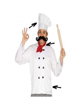 set de cocinero gorro pañuelo y chaqueta