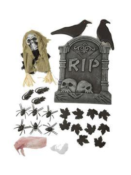 set de decoracion cementerio halloween de 54 cm