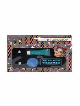 set de maquillaje glitter azul