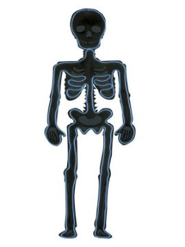 silueta de esqueleto fluorescente 90x30 cm