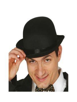 sombrero bombin negro satinado