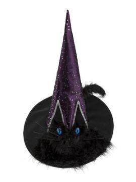sombrero de bruja con ojos y cola de gato