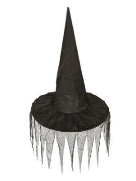 sombrero de bruja con picos de tela negro