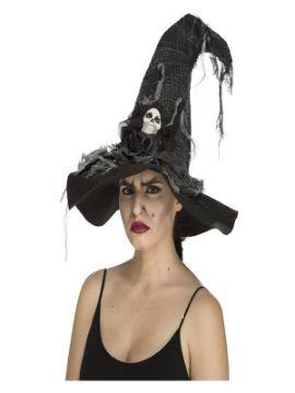 sombrero de bruja desgastado con calavera