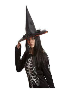 sombrero de bruja negro decorado 58 cm