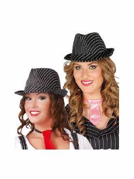 sombrero de ganster negro a rayas blancas