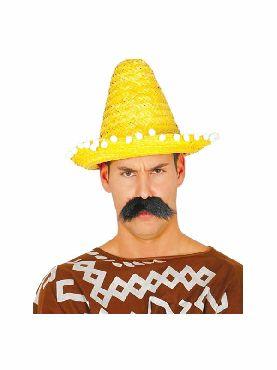 sombrero de mexicano 33 cms con borlas amarillo