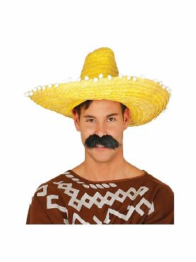 sombrero de mexicano 50 cms amarillo