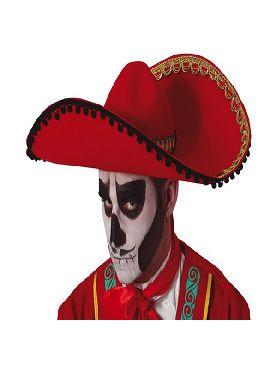 sombrero de mexicano rojo fieltro