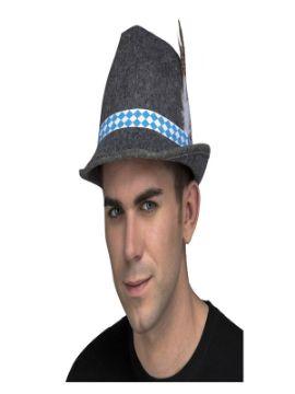 sombrero gris tiroles con pluma