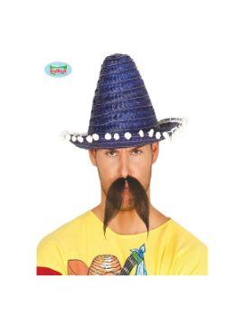 sombrero mexicano paja azul 33 cms