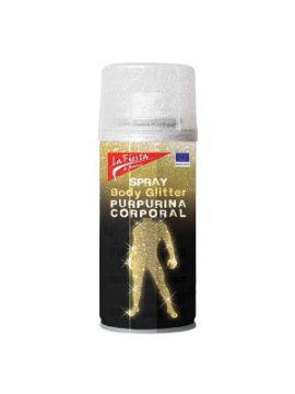 spray plata glitter para cuerpo