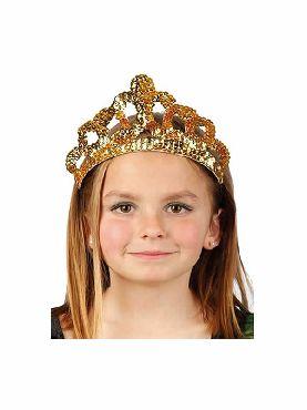 tiara de reina de lentejuelas dorada