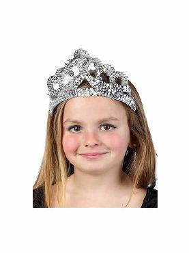 tiara de reina de lentejuelas plateada