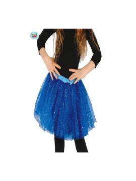 tutu azul oscuro con brillantes 30 cms