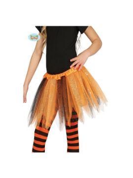 tutu brillante naranja y negro 30 cms infantil