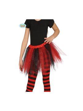tutu de brillante rojo y negro infantil 30 cms