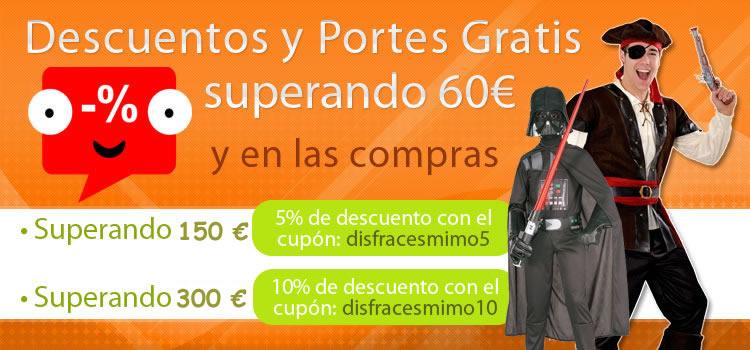 Grandes descuentos y portes gratis superando 60 € en tu tienda de disfraces online