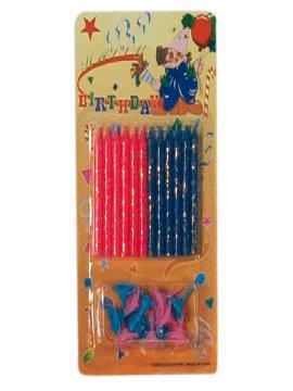 12 velas para tarta de cumpleaños rojas y azules
