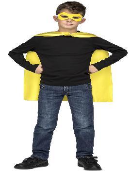 capa o disfraz de superheroe amarilla infantil