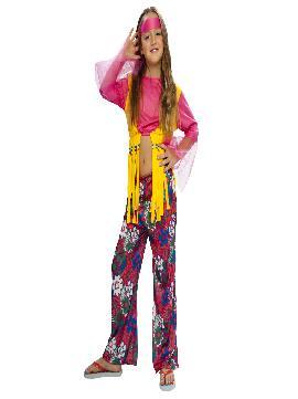 disfraz de hippie rosa chica. Este comodísimo traje colorido y floral es perfecto para carnavales, espectáculos, cumpleaños y tambien para las fiesta de los colegios como fin de curso.Este disfraz es ideal para tus fiestas temáticas de disfraces de hippies niñas infantiles.
