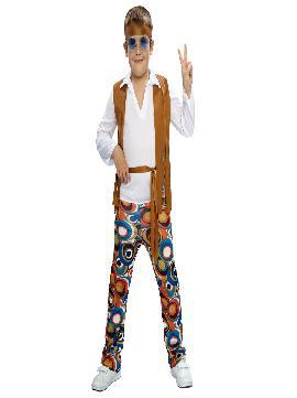 disfraz de hippie chaleco barato niños. Este comodísimo traje con su pantalon tan colorido y ese magnifico chaleco, es perfecto para carnavales, espectáculos, cumpleaños.Este disfraz es ideal para tus fiestas temáticas de disfraces de hippies y años 60, 70 y 80 para niños infantiles.
