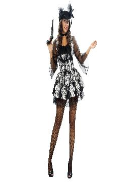 disfraz de lady pirata adulto para mujer. Este bonito traje con colores y dibujos blancos y negros. Atrévete a disfrazarte de pirata sexy y deslumbra a todos en Carnaval.Este disfraz es ideal para tus fiestas temáticas de disfraces piratas, bucaneros y corsarios de mujer adultos.
