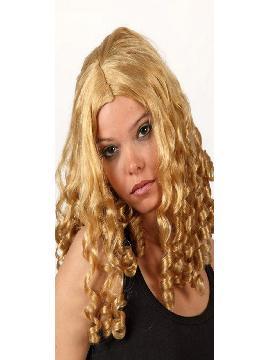 peluca rubia larga tirabuzones