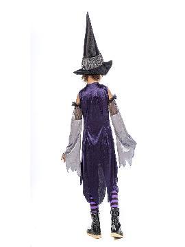 disfraz de bruja purpura niña