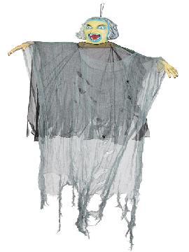 adorno halloween bruja pvc y tunica gasas 150x90 cm